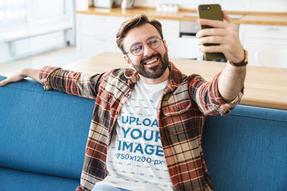 T-Shirt Mockup of a Man with Beard and Glasses Taking a Selfie 43949-r-el2