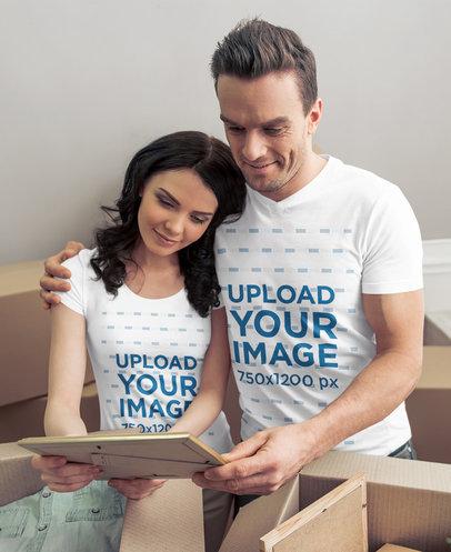 T-Shirt Mockup of a Couple Unboxing Personal Belongings 44931-r-el2