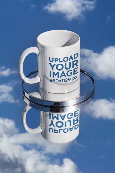 11 oz Mug Mockup Featuring a Small Mirror and a Reflective Surface m591
