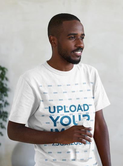 T-Shirt Mockup of a Chill Man Drinking Water 44845-r-el2