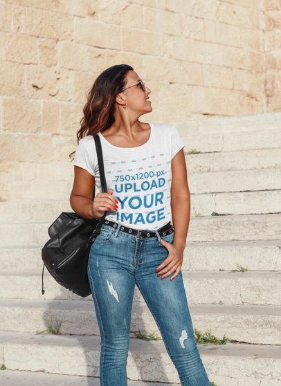 T-Shirt Mockup Featuring a Stylish Woman Posing 44772-r-el2