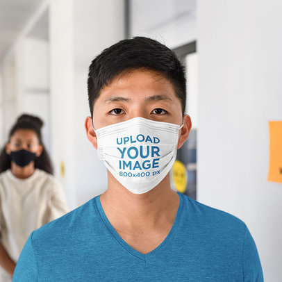 Mockup of a Serious Man Wearing a Face Mask 44900-r-el2