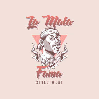 Tattoo-Styled Logo Template Featuring an Illustration of a Chicano Man 3840h
