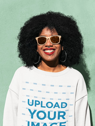 Sweatshirt Mockup of a Happy Woman With Sunglasses Posing Against a Colored Wall 44676-r-el2