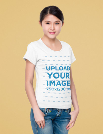 T-Shirt Mockup of a Young Woman Standing in Front of a Solid Color Backdrop 44855-r-el2