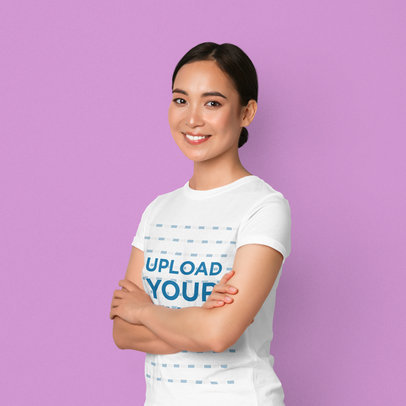 T-Shirt Mockup of a Smiling Woman Posing With Crossed Arms at a Studio 42583-r-el2