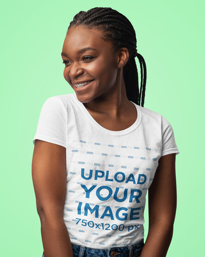 T-Shirt Mockup of a Woman with Long Braids in a Studio 44433-r-el2