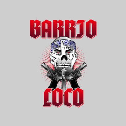 Streetwear Logo Template Featuring a Cholo Man Illustration 3840h