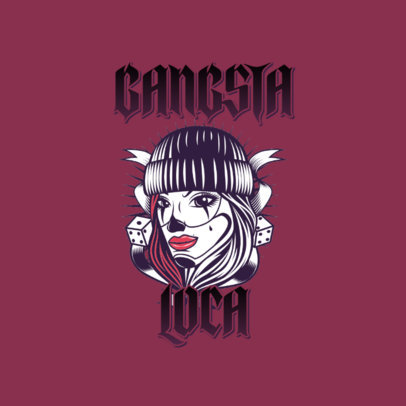Logo Template Featuring Chicano Lettering and a Woman Graphic 3840k