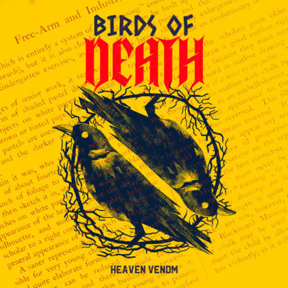 Album Cover Template for a Heavy Metal Group Featuring Scary Crows 3145d