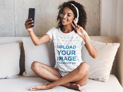 T-Shirt Mockup of a Happy Woman Making a Video Call at Home 44806-r-el2