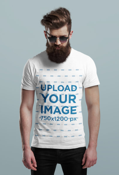T-Shirt Mockup Featuring a Hipster Man with a Long Beard in a Studio 44924-r-el2