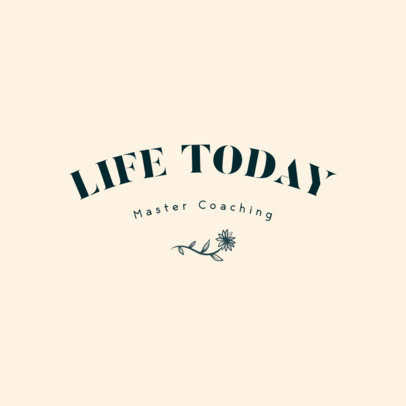 Coaching Logo Creator Featuring a Simple Layout and a Flower Graphic 3788g