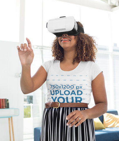 T-Shirt Mockup of a Woman Playing with a VR Device 44776-r-el2