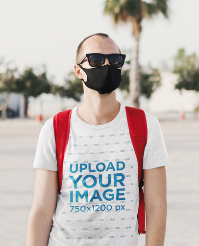Round Neck T-Shirt Mockup Featuring a Man with Sunglasses 45028-r-el2