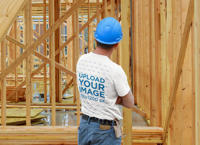 Back View Mockup of a Man Wearing a Heather T-Shirt at a Construction Site 45041-r-el2