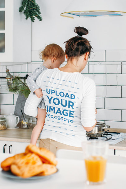 Long Sleeve Tee Mockup of a Mom Cooking at Home with Her Baby 45032-r-el2