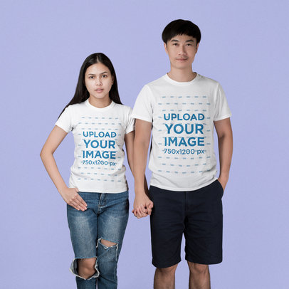 T-Shirt Mockup of a Couple Holding Hands at a Studio 45101-r-el2