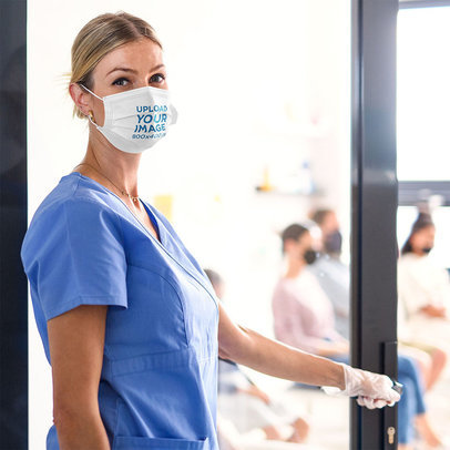 Face Mask Mockup Featuring a Female Doctor Entering a Waiting Room 44904-r-el2