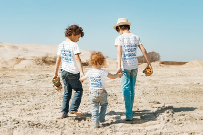 Back-View T-Shirt Mockup of Three Kids Walking on Sand 45029-r-el2