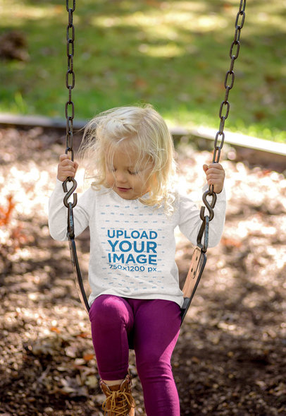 Long Sleeve Tee Mockup of a Blonde Girl on a Swing 45109-r-el2
