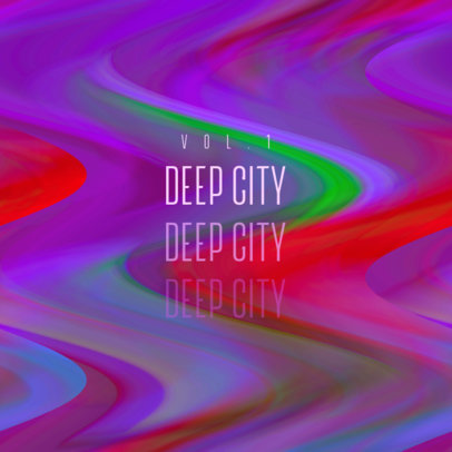 Album Cover Creator for an Electronic Music Compilation Featuring a Wavy Digital Texture 3159f