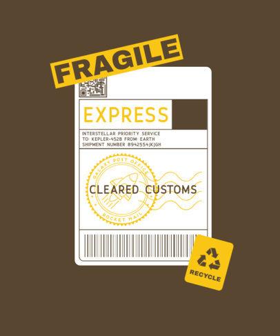 Postal T-Shirt Design Generator with a Fragile Label 3178c