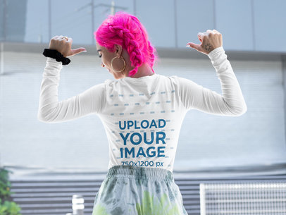 Back-View Mockup of a Woman Pointing at Her Long Sleeve Tee m415