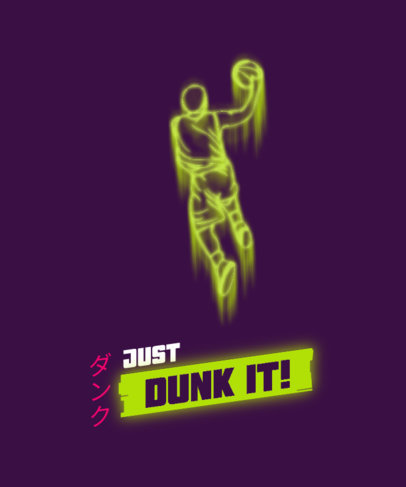 T-Shirt Design Template with a Silhouette of a Basketball Player Performing a Dunk 3185a-el1