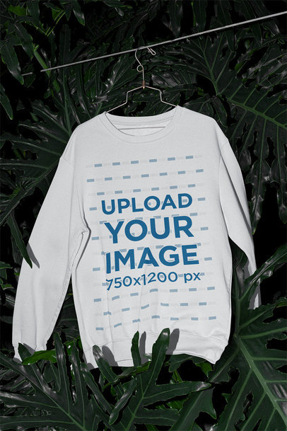 Mockup of a Sweatshirt Hanging in a Greenhouse m512