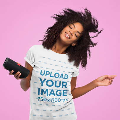 Studio T-Shirt Mockup of a Woman Enjoying Some Music 45060-r-el2