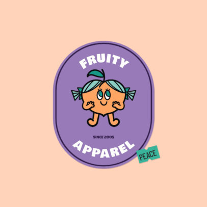 Kids' Apparel Brand Logo Generator Featuring a Cute Peach Graphic 3850e
