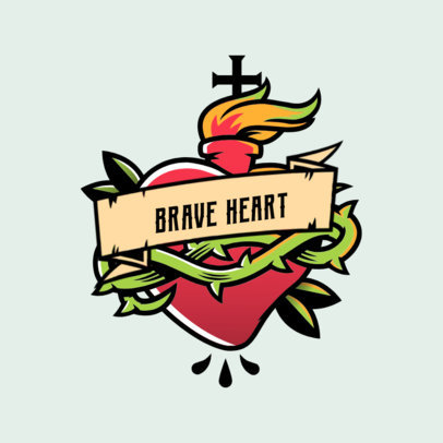 Logo Maker for a Streetwear Brand Featuring a Tattoo-Style Heart Graphic 3862j