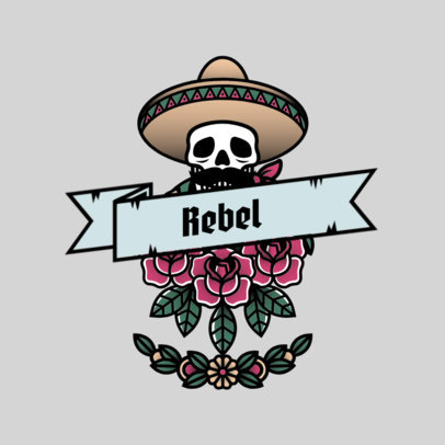 Urban Clothing Brand Logo Template with a Mariachi Skull Graphic 3862k