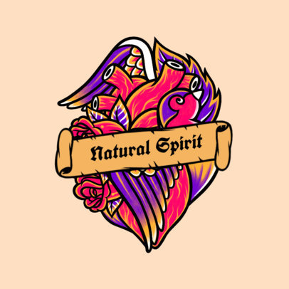 Illustrated Logo Maker for a Classic Rock Band Featuring a Heart Tattoo Illustration 3862c