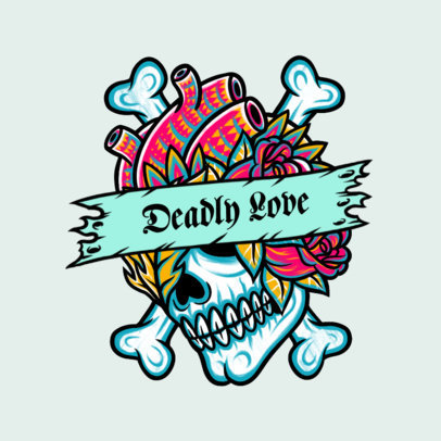 Streetwear Logo Maker Featuring a Skull Graphic and a Tattoo Style 3862d