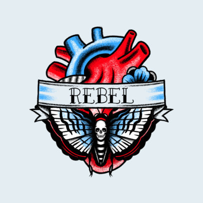 Tattoo-Styled Logo Template for a Rock Band Featuring a Rebel Heart Graphic 3862l