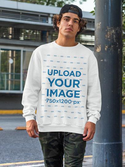 Mockup of a Young Man Wearing a Sweatshirt in an Urban Scenario m533