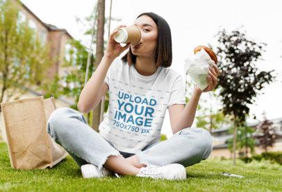 Crop Top Mockup of a Woman Eating at a Park 44874-r-el2