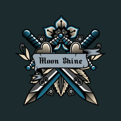 Music Logo Maker Featuring Two Swords with a Tattoo Style 3862c