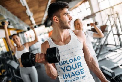 Mockup of a Bearded Man Wearing a Heathered Tank Top at the Gym 41183-r-el2