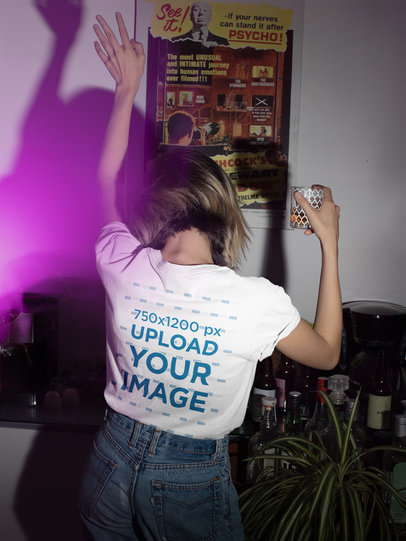 T-Shirt Mockup of a Woman Dancing in a House Party m550