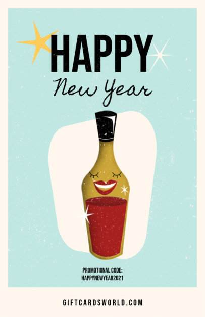 Flyer Design Template Featuring New Year-Themed Illustrations 3201