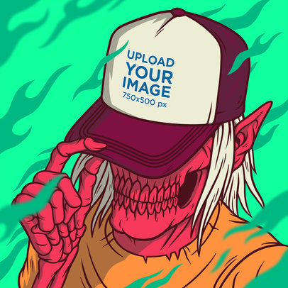 Illustrated Mockup of a Horror Character Covering Their Face with a Trucker Hat m806