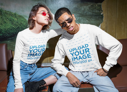 Long Sleeve Tee Mockup of a Man and a Woman in an Urban-Style Outfit m558