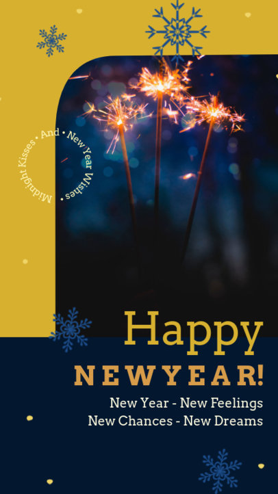 New Year-Themed Instagram Story Maker Featuring Snowflake Graphics 3198j