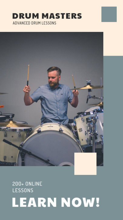 Modern Instagram Story Design Creator to Promote Drum Lessons 3242c-el1