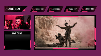 Twitch Overlay Template for Gamers Featuring a Webcam Frame 3206e-el1