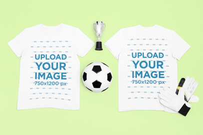 Both-Sides View Mockup of a T-Shirt Surrounded by Soccer Equipment m312