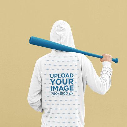 Back-View Hoodie Mockup of a Man Holding a Baseball Bat 45337-r-el2